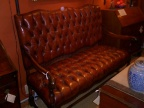 Vintage Tufted Leather Settee with Lovely Turned Walnut Legs