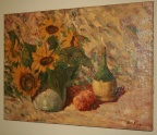 Signed oil painting of sunflowers & chianti