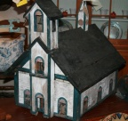 SOLD - Large early American schoolhouse wood bird house in original paint.