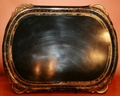 Antique Papier Mache Tray in Black with Gold Decoration