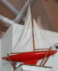 Vintage Pond Sailboat with Red Hull