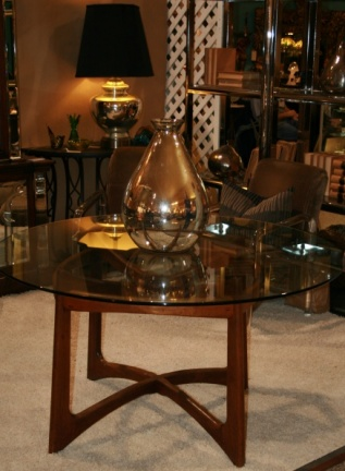 SOLD - Adrian Pearsall Sculptural Walnut Dining Table Base With Glass Top