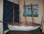 Antique American large skillfully hand-crafted four-masted sailing ship model. 4 ft long