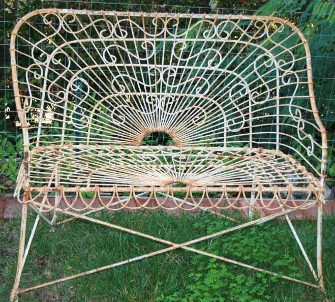 Fantastic Sold Unusually Intricate Iron And Wire Garden Bench Mary Pabps2019 Chair Design Images Pabps2019Com