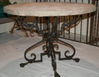 SOLD - Vintage Round Stone Topped Hand Wrought Iron Table
