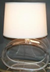 Oval lucite table lamp