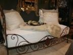 SOLD - French Antique Wrought Iron Campaign Bed with Custom Upholstered Mattress
