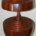 Open Antique Mahogany Urn Shaped Fitted Cutlery Box - see other photo