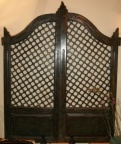 Antique Hand Carved Wooden 2-Piece Garden Gate Would Make a Handsome Headboard