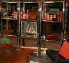Set of Three Chrome and Glass Shelf Units