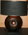 Contemporary circular wood base table lamp