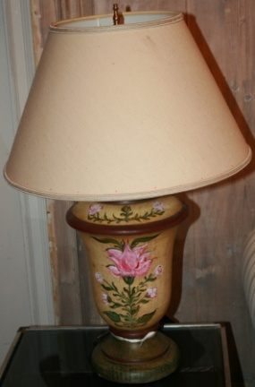 Hand painted wood base table lamp