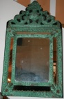 SOLD - Small mirror in metal frame with lovely green patina