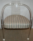 SOLD - Charles Hollis Jones pair of mid century lucite arm chairs with upholstered seats