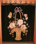 Embroidery on Velvet of French basket, flowers and butterflies