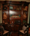 "Classic style vintage wooden decorative display cabinet with nice detailing and adjustable shelves, measuring approximately 7' 8"" tall x 6' wide."
