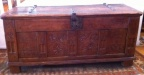 Antique French carved oak chest with great original iron hardware.