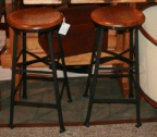 SOLD - Pair of Iron & Wood Stools