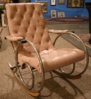 SOLD - Designer leather/steel 1920's rocking chair in the style of Thonet