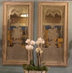 Fine pair of wood framed mirrors with decorative etched glass