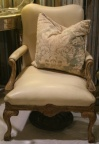 SOLD - Antique French Cream Leather Chair