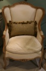 Louis XV Style French Wing Chair With Carved Frame