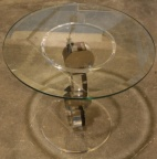 Lucite round occasional table by designer Shiomi Haziza