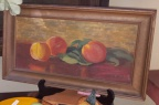 Early oil painting of peaches, in a frame