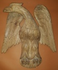 "SOLD - Antique hand carved wooden eagle - 24"" H  x  21"" W"