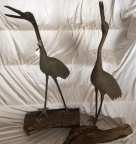 Pair of Antique Japanese Bronze Cranes