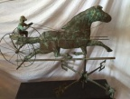 Early copper weathervane horse with sulky, rider and directionals