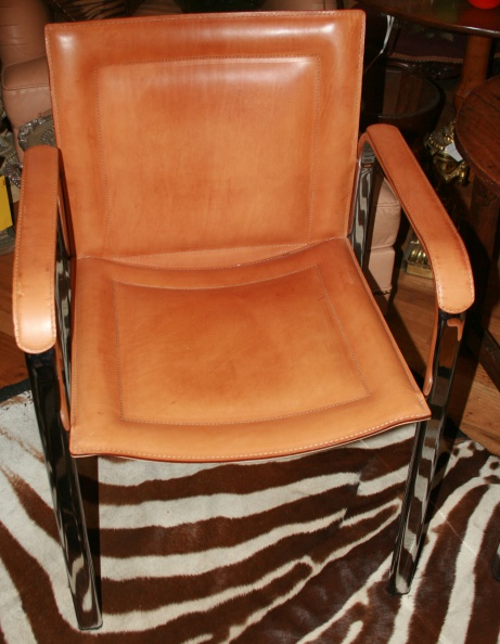 Leather and Chrome Chairs - Set of 6.JPG
