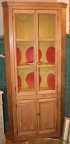 "Antique pine corner cupboard with glass & panels 36""w X 80"" h"