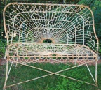 SOLD - Unusually intricate iron and wire garden bench