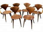 SOLD - Set of 6 Norman Cherner chairs - 2 arm, 4 side