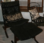 Designer Leather Chair and Ottoman