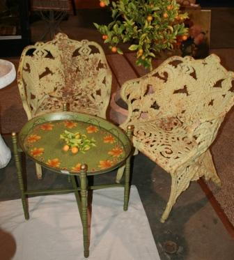 Painted tray stand table in green and orange