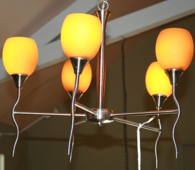 Mid-century five arm chrome chandelier with golden colored glass globes