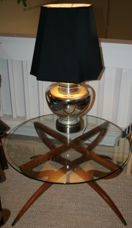 Mid century designer Adrian Pearsall walnut table with round glass top
